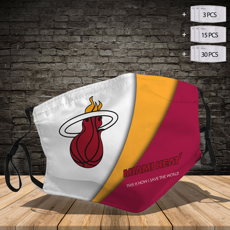 Lntm0523 Miami Heat Face Mask With 3 Filters Per Mask Linostee Com